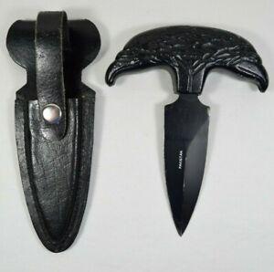 Vtg Pakistan Double Eagle Head Handle Palm Knife with Sheath