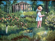 ESTATE ORIGINAL RUSSIAN OIL CANVAS PAINTING SIVUKHIN GIRL SUMMER FOLK NAIVE ART
