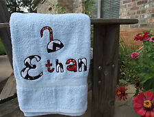 Personalized Embroidered Pirate Hook Applique Letters Colored Bath Towel for Boy