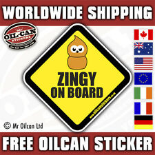 Zingy On Board sticker decal , JDM / EURO / ratlook 100 X 100mm