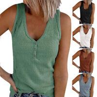 Women Summer V Neck Loose Sleeveless Button T Shirt Casual Tank Sexy Tops Blouse