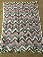 """BABY Afghan/Throw/Lap Hand- Crocheted Blanket 32"""" x 35"""" Pastel/White"""