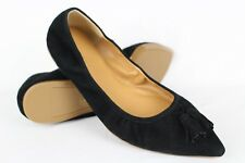 456f790055e J Crew Women s Suede Stretch Tassel Ballet Flats Size 7.5m Black   J7003
