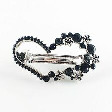 USA BARRETTE Rhinestone Crystal Hairpin Clip Vintage Elegant Heart Black Cute