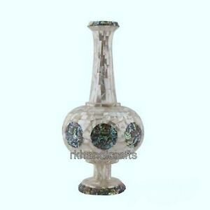 10 Inches White Marble Table Masterpieces Unique Design Flower Vase Office use