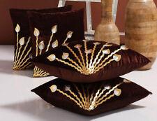 4 PC Set Beautiful Golden Leather Leaf Design Velvet Brown Cushion Cover Decor