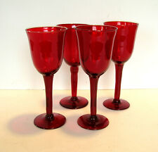 Handblown Red Glass Wine Glasses Made in Mexico Set of Four