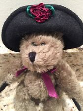 """Boyd's Brown Jointed Bear with Burgundy Flower Black Hat bow 1990 - 1996 7 1/2"""""""