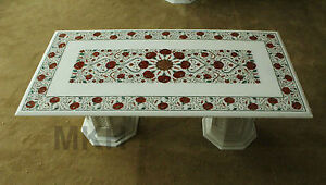 Marble Inlay Dining Table Antique Vintage Coffee Table Marquetry Mosaic Pedestal