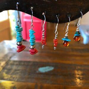 Sterling Silver Multi Stone Beaded Fine Dangle Hook Earrings Lot- 3 Pairs