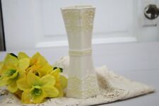 "Belleek Vase 6 Sided Rim Fleur Di Lis Relief Pattern Yellow Highlights 7 7/8"" T"