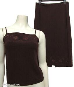 Ann Taylor Brown Tank Top Shirt + Skirt 2 Piece Set Sz S Floral Embroidered 6 8