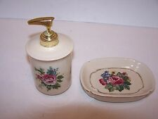 LOTION DISPENSER/SOAP DISH CERAMIC (SPRING MAID) BEIGE /PINK ROSES /GREENERY
