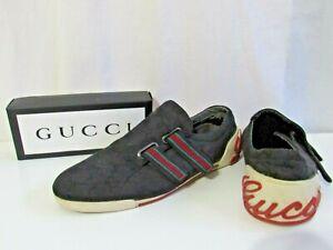 GUCCI Mens Black sneaker GG Guccissima monogram Slip On Shoes 10.5 11 46 cloth