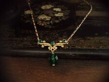 Vintage Emerald Faceted Glass & Peridot Green Crystal Drop  Necklace Gold plated