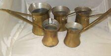 Vintage Set of 5 Copper Turkish Cezve Coffee Pot Liquid Stove Boilers Housewares
