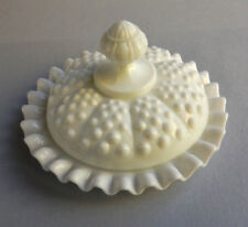 "FENTON Vintage Hobnail - Milk Glass COVERED Butter - Chess Dish  6"" X 3.5""  NR"