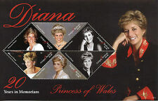 Antigua & Barbuda 2017 MNH Princess Diana 20th Memorial 6v M/S Royalty Stamps