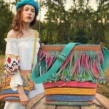 Womens Tassels Cotton Linen Knitted Single-shoulder Bag HANDBAG PURSE Retro Chic