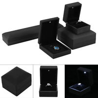 LED Lighted Jewelry Ring Box Jewelry Gift Wedding Engagement Necklace Case Black
