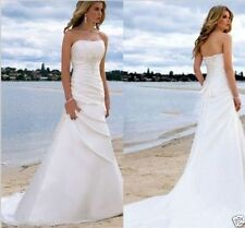 Custom Ivory/White Beach Wedding Dress Sheath Bridal Strapless Gown Back Lace-up