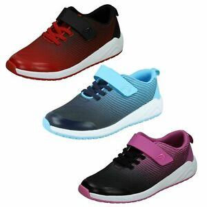 Childrens Clarks Unisex Casual Hook & Loop Leather & Material Trainers Aeon Pace
