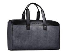 John Varvatos black gray leather DUFFLE WEEKENDER TRAVEL OVERNIGHT hand BAG new