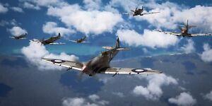 "WWII WW2 RAAF 457 Squadron Spitfire MkVIII Aviation Art Photo Print - 24"" X 12"""