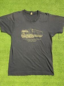 Vintage 90s Screen Stars Tow Truck Company T-Shirt Size Small Massachusetts Blue