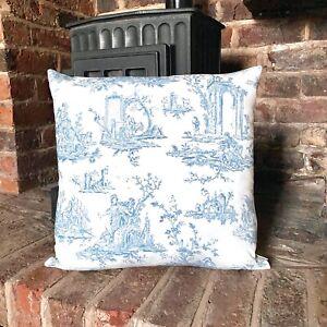 1038.Light Blue Toile De Jouy 100% Cotton Cushion Cover, Various sizes