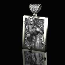 Horror Horned Devil Big Pendant necklace oxidized 925 silver biker rider Gift