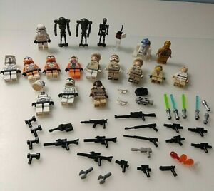 LEGO STAR WARS MINI FIGURES(18)  AND WEAPONS BUNDLE WITH EXTRAS