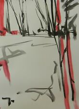 JOSE TRUJILLO - MODERN ABSTRACT EXPRESSIONIST INK WASH RED LANDSCAPE 18X24 ART