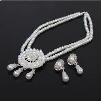 Collier Halskette mit Ohrringen Perlen Kette Strass Modeschmuck Hochzeit