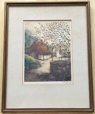 "Vintage Raffray Signed Aquatint Etching ""The Old Well"" -  Frame 12""x15"""