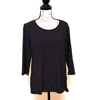 Christopher & Banks T Shirt Top Womens Size XL Black White Polka Dots 3/4 Sleeve
