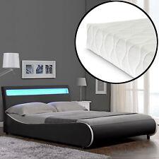 CORIUM® LED sommier tapissier moderne matelas 140x200cm simili-cuir noir lit