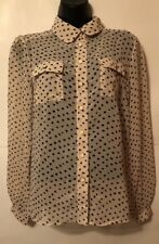 Iris Los Angeles Womens Polka Dot Sheer Long Sleeve Button Up Blouse Size Large