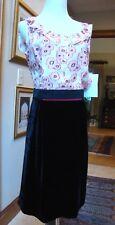 LOUIS VUITTON Black Velvet, Red/Pink Floral Print DRESS FR40, US4 6 FRANCE $2.5K