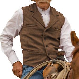 S-3XL Aged Vest Tweed Men Retro Vintage Herringbone Waistcoat Notch Lapel Cowboy