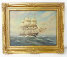 Listed Artist William Paskell Oil on Canvas Tall Ship Painting Gold Gilt Frame