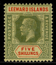 More details for leeward islands gv sg78, 5s green & red/pale yellow, m mint. cat £50.