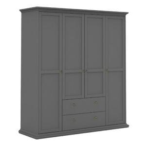 Stylish Functional Wardrobe with 4 Doors & 2 Drawers in Matt Grey 181x200x60 cm