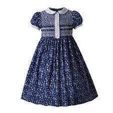 Floral Vintage Girls Handmade Smocked Dresses Peter Pan Collar Pageant Age 3-10