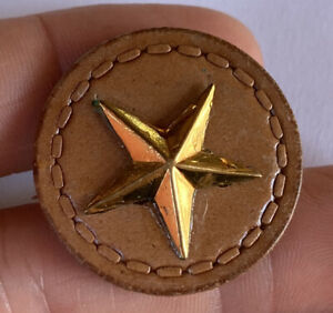 """Antique Vintage Large Leather Button With Brass Metal Star Shape Center 1- 1/4"""""""
