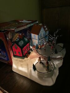 Ancien Village de Noël Patinoire Animé Lumineux Fibre Optique Vintage