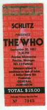 THE WHO CLASH EDDIE MONEY 9/30/82 Detroit Pontiac Silverdome Concert Ticket Stub