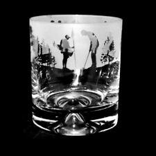 Animo Glass - SANDBLASTED FRIEZE WHISKY WHISKEY TUMBLER GLASS - Golf Scene