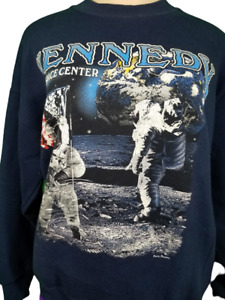 Vintage Sweatshirt Kennedy Space Center Astronauts On The moon Sz Large Navy
