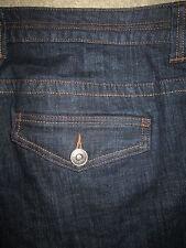 VENEZIA Yellow Square Trouser Stretch Dark Blue Denim Jeans Womens Size 4 Tall